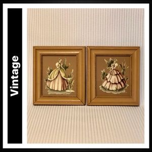 Vintage Wood Framed Victorian Artwork Set